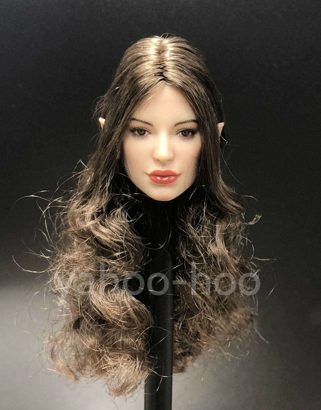 1 6 Fairy Female Head Brown Brown Brown Hair Detachable Ears for SUNTAN Phicen 3da5b9