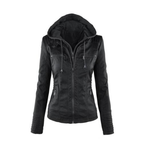 Aftagelig Jacket Bikers Hooded læder Faux lynlås Vogue Outwear Rainb Kvinders Bxq0ntw