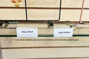glass shelf label holder 2 long for shelves 1 4 or 3 16 thick rh ebay com long glass shelf brackets brushed chrome long glass shelf brackets