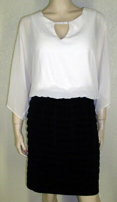 MSK NWT Sz 14 Multi Color Blouson Top Kimono Sleeves Tiered Skirt Dress 7210
