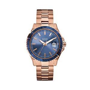bnib guess w0244g3 blue dial date rose gold tone masculine image is loading bnib guess w0244g3 blue dial date rose