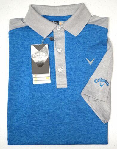 NWT $60 Callaway Polo Short Sleeve Shirt Blue Heather Mens Size S XL Opti Series