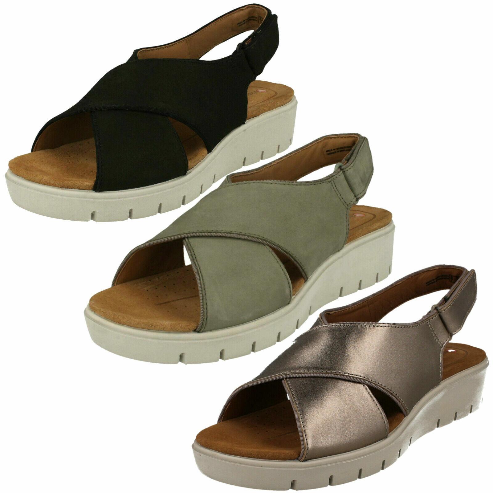 Signore Clarks'Un Karely Sun 'Casual Leather Wedge Heel Sandals  - D Fitting  economico e di alta qualità