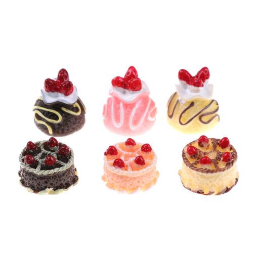 6pcs Dessert 3D Resin Cream Cakes Miniature food Dollhouse Accessories OD