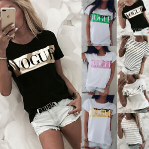Women-Ladies-Summer-Loose-Tops-Short-Sleeve-T-Shirt-Blouse-Casual-SIZE-S-XL