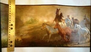 WILD HORSE ROUNDUP PREPASTED WALLPAPER BORDER #WB5944BD