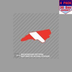 Buzo-abajo-Bandera-de-Carolina-del-Norte-Scuba-bandera-4-Pegatina-Calcomania-Pegatinas-4x4-pulgadas