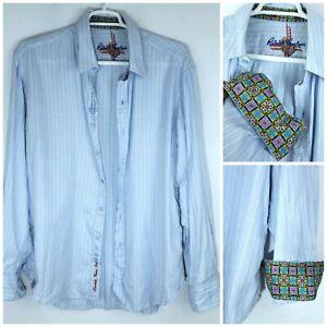 Robert-Graham-Blue-White-Striped-Flip-Cuff-Embroidered-Cotton-Shirt-Men-039-s-2XL