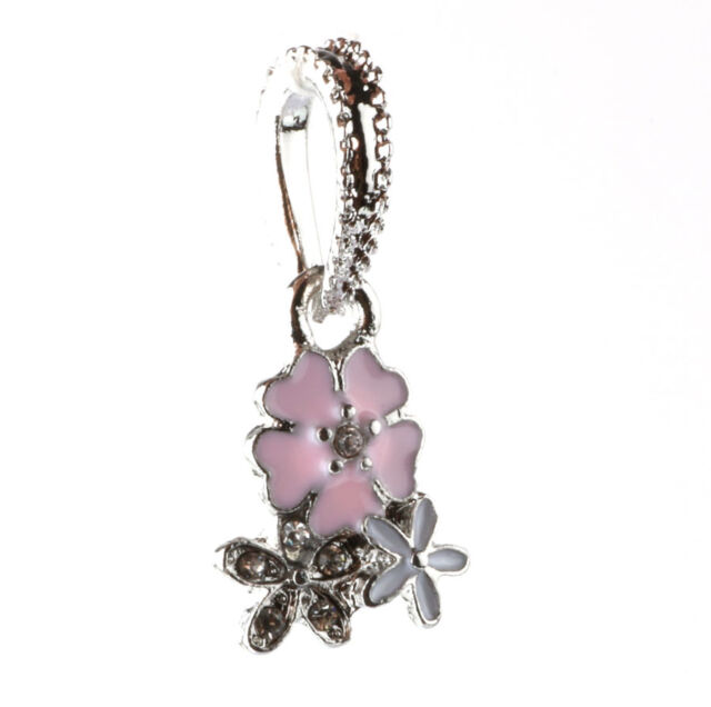 HOT 925 Silver three flowers CZ pendant Fit European Charm Bead Bracelet A#136