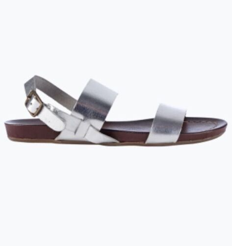SILVER QUALITY GENUINE LEATHER SUMMER SANDALS SHOES FLAT 4 5 6 7 8 36 37 38 39