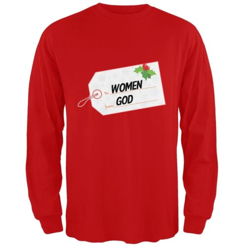To Women From God Christmas Tag Red Adult Crew Neck Sweatshirt