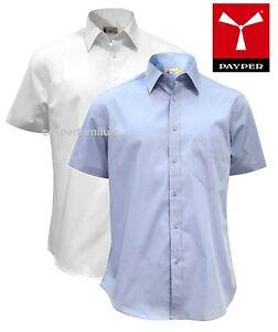 Camicia-uomo-maniche-corte-100-cotone-Payper-Spring-sfiancata-bianca-azzurra