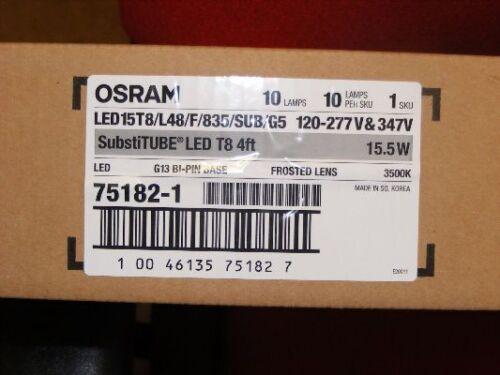 "BOX OF 10  48/"" OSRAM SYLVANIA 75182 LED15T8//L48//F//835//SUB//G5 3500K GLASS FREE 4/'"