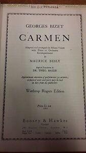 Bizet: Carmen: Concert Edition: Arr. Besly: Musique Vocale Score-afficher Le Titre D'origine Blanc De Jade