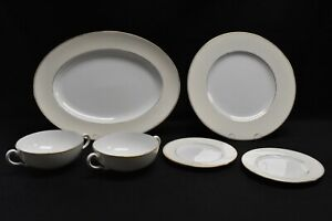 Wedgwood-Essex-Dinner-Bread-Plate-Platter-Soup-Bowl-Lot-of-6-Pieces-Blemishes
