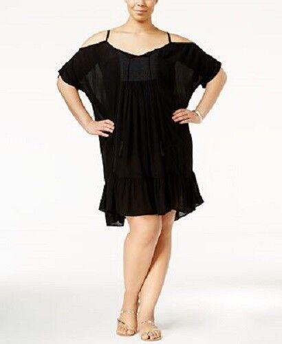 NWT Raviya Swimsuit Bikini Cover Up Tunic Cold-Shoulder Dress Plus Sz 2X Black