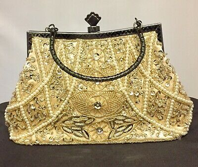 Inventivo New Bridal Hand Purse Clutch Bag With Beautiful Sequin Packed New