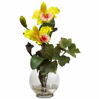 Nearly Natural Mini Cattleya With Fluted Vase Silk Flower Arrangement- Yellow