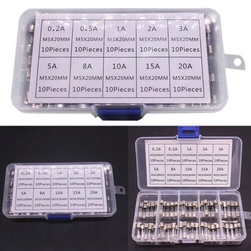 100Pcs Set 5x20mm Quick Blow Glass Tube Fuse Assorted Kits,Fast-blow Glass Fuses