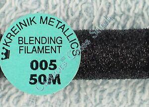 Kreinik-Blending-Filament-005-Black-Metallic-Thread-50M-Cross-Stitch