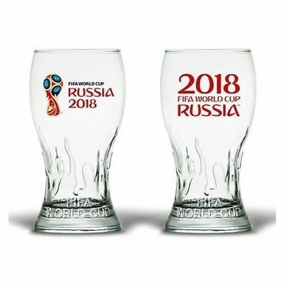 2018 FIFA WORLD CUP RUSSIA TROPHY SHAPED PINT GLASS SET OF 2 OFFICIALLY LICENSED