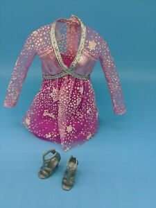 Barbie-Fashionistas-Doll-Clothes-Pink-Dress-Silver-Snowflakes-Silver-Shoes