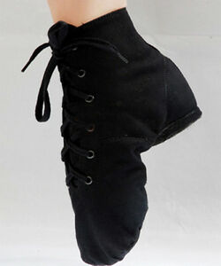 New-Canvas-Jazz-Ballet-Hip-hop-Boots-Black-and-RED