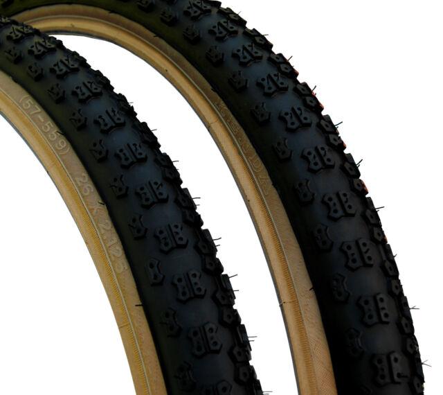 """Kenda Comp 3 III old school BMX skinwall gumwall tires PAIR 24/"""" X 2.125/"""" YELLOW"""