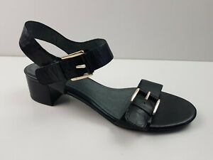 Hush-Puppies-Black-Leather-Block-Heel-Sandal-Shoe-Women-039-s-US7-5-Double-Buckle