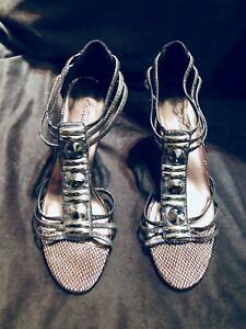 e793b7b69b Image is loading Metaphor-brand-3-inch-evening-heels-silver-metallic-