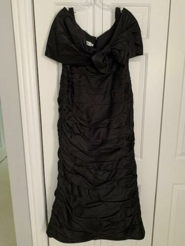 Teri Jon Black Ruched Gown Size 16