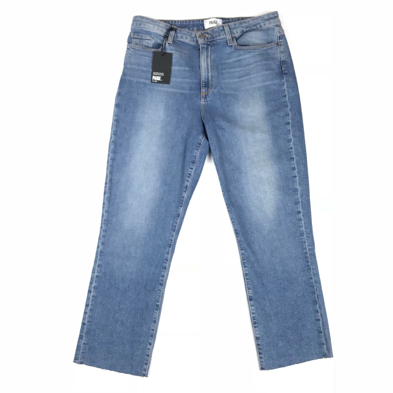 Paige mujer JEANS Jacqueline Recto High-Rise High-Rise High-Rise cultivo Bex Raw Dobladillo Talla 32x26 EE. UU. a57814