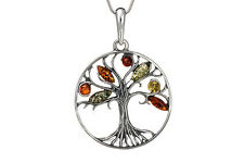 100% Sterling Silver 925 & Baltic Amber Family Tree Pendant Jewellery Jewelry
