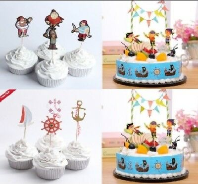 Prime Pirate Birthday Cake Topper Pirate Cupcake Toppers Wrapper Bunting Funny Birthday Cards Online Kookostrdamsfinfo