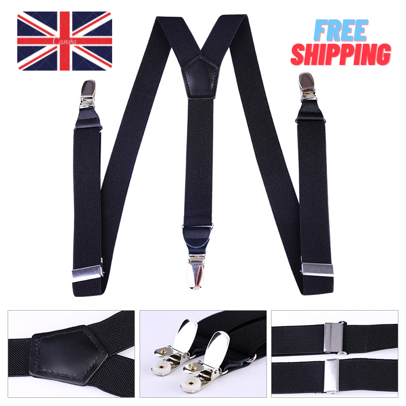 25mm Adjustable Mens Braces Highly Elastic Suspenders Heavy Duty Trouser Style.