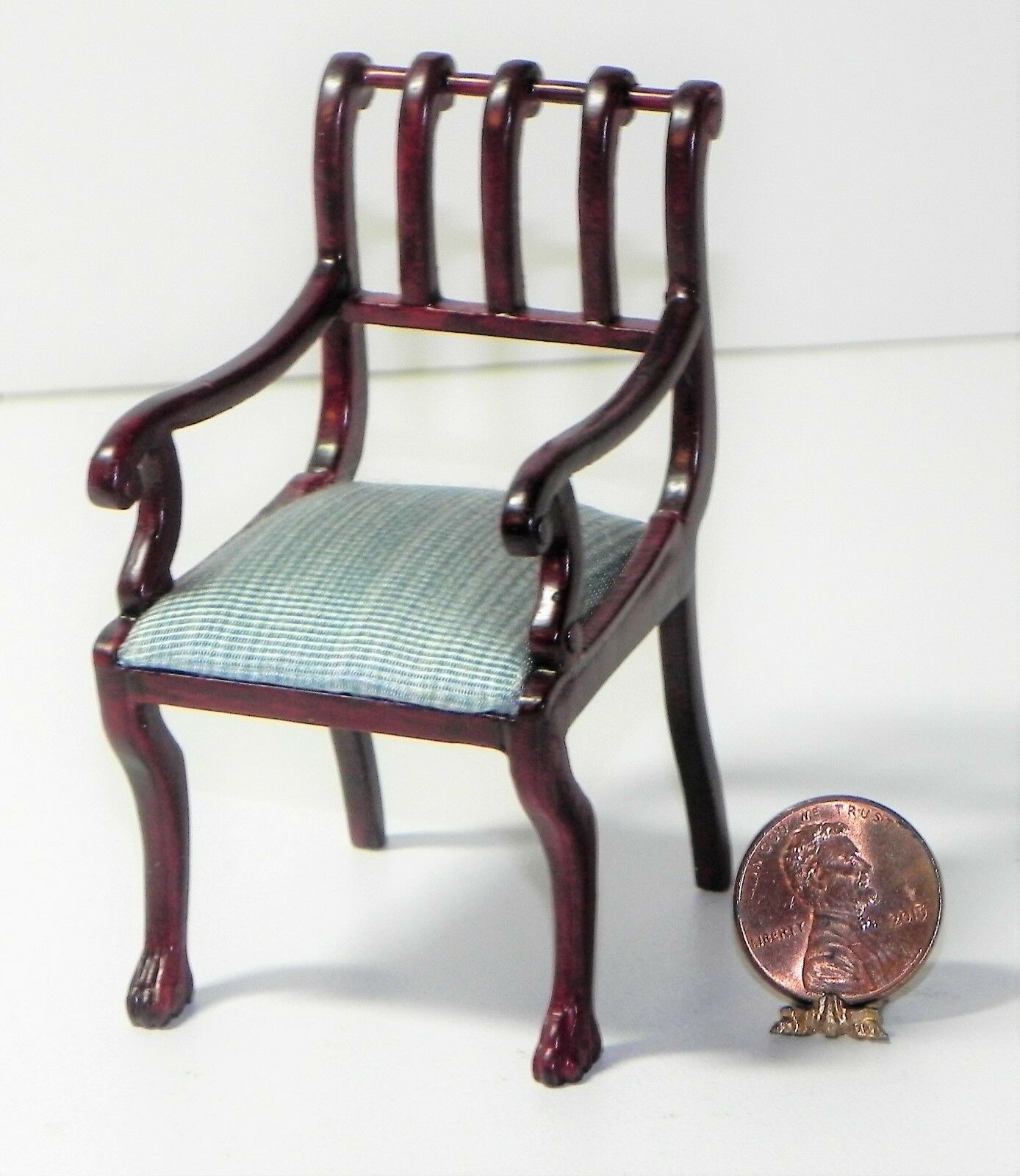 Dollhouse British Miniature British Dollhouse Colonial Chair Blau 1 12 Scale 8561e5