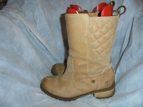 TIMBERLAND WOMEN'S BEIGE LEATHER MID KNEE BOOTS SIZE UK 6.5 EU 39.5 US 8.5 VGC