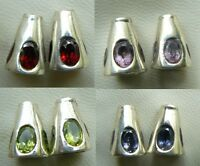 925 Sterling Silver Cone Findings With Added Oval Gemstones 10x13mm 4 Gems