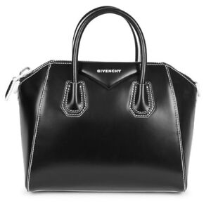 a4db125c36b6 Image is loading NWT-Givenchy-2450-Antigona-Small-Black-Leather-White-