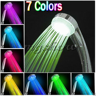7 Color LED Changing Light Bright Water Bath Home Bathroom Shower Head Glow New