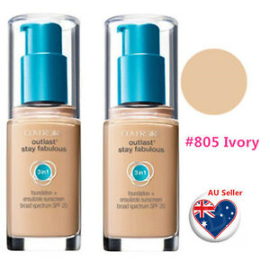 Details about TWO Covergirl Outlast Stay Fabulous 3 in 1 Foundation #805  IVORY Limited Stock