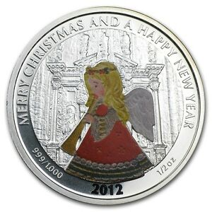Coins & Paper Money Liberia 2012 Large 1/2 Oz Silver Proof Color $2 Christmas/new Year-angel Liberia