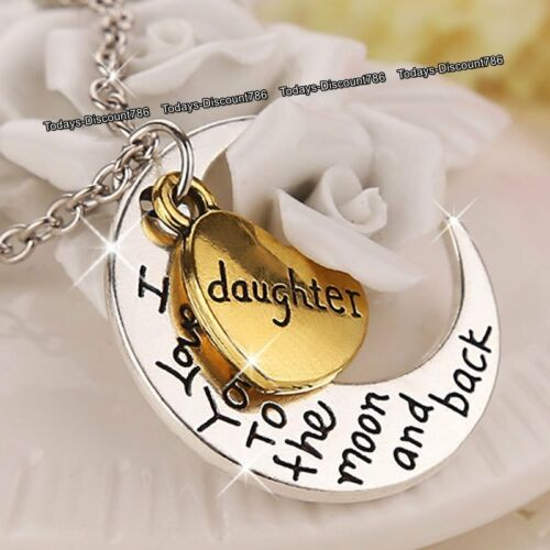 I Love You Tochter Herz /& Mond Anhänger Halskette Silber Xmas Geschenk für Sie