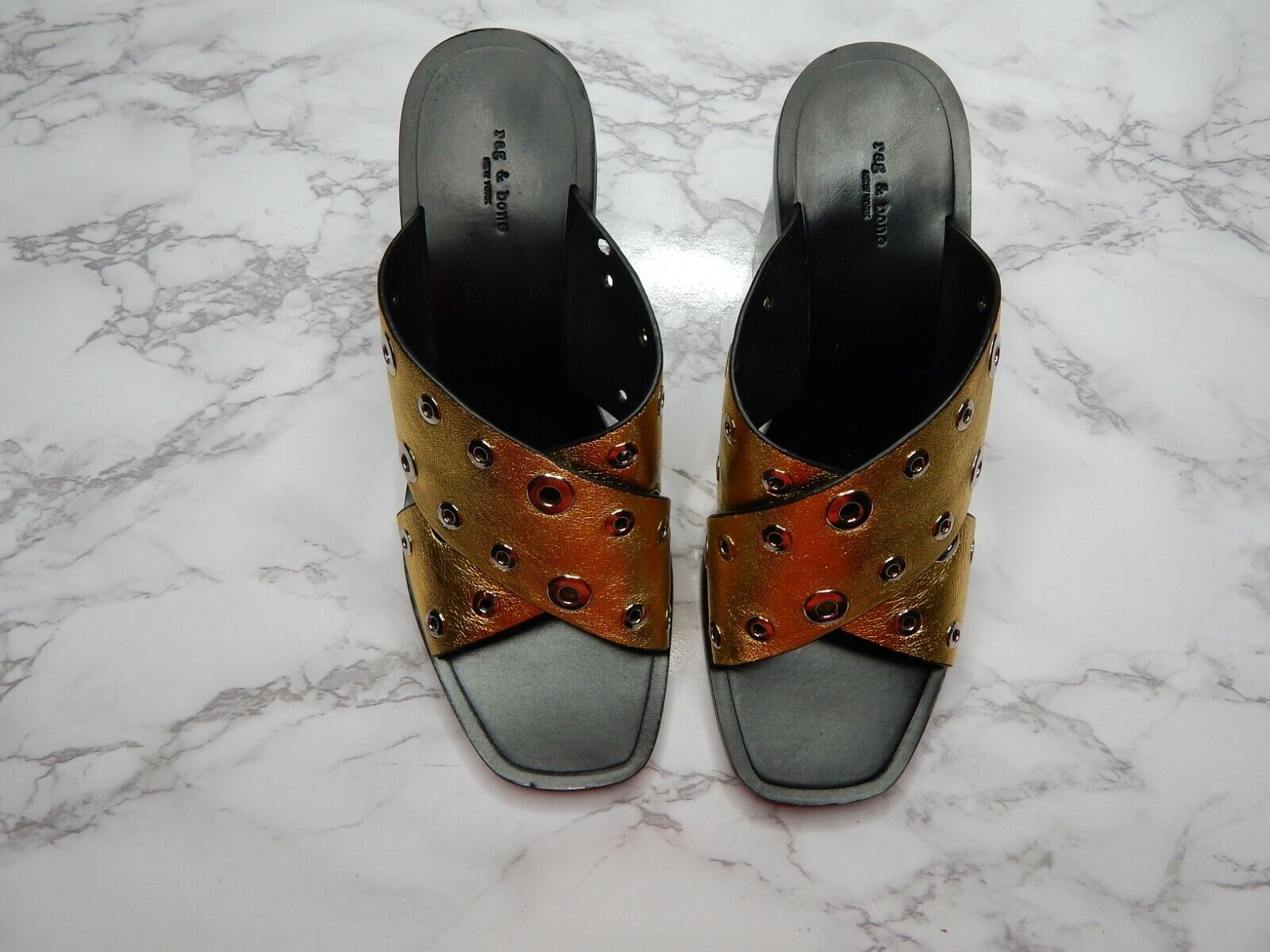 Rag Rag Rag och Bone Paige Criscross guld Slide Sandals Storlek 7 Reg. 495  fabriks direkt