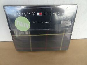 Tommy-Hilfiger-Tommy-Twin-Size-Flat-100-Cotton-Bed-Sheet-color-olv-brand-new