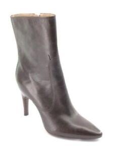 58c475e3b80 New VIA SPIGA Women Black Leather Heel Zip Pointy Toe Boot Shoe Sz ...