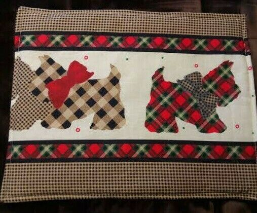 COUNTRY COTTAGE SET OF 6 GINGHAM SCOTTIE DOGS QUILTED FABRIC PLACEMATS & NAPKINS