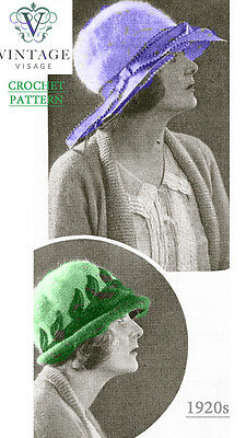 Vintage 1920s crochet pattern- 2 stylish brimmed flapper hats to make