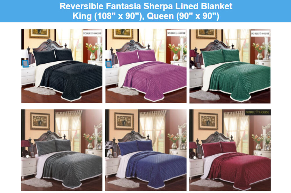 LUXURIOUS REVERSIBLE OVERGrößeD Sanft FANTASIA SHERPA LINED BLANKET, FLEECE THROW