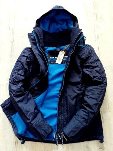 SUPERDRY MENS  HOODED WINDCHEATER JACKET BLUE FLEECED LINED BNWT COAT
